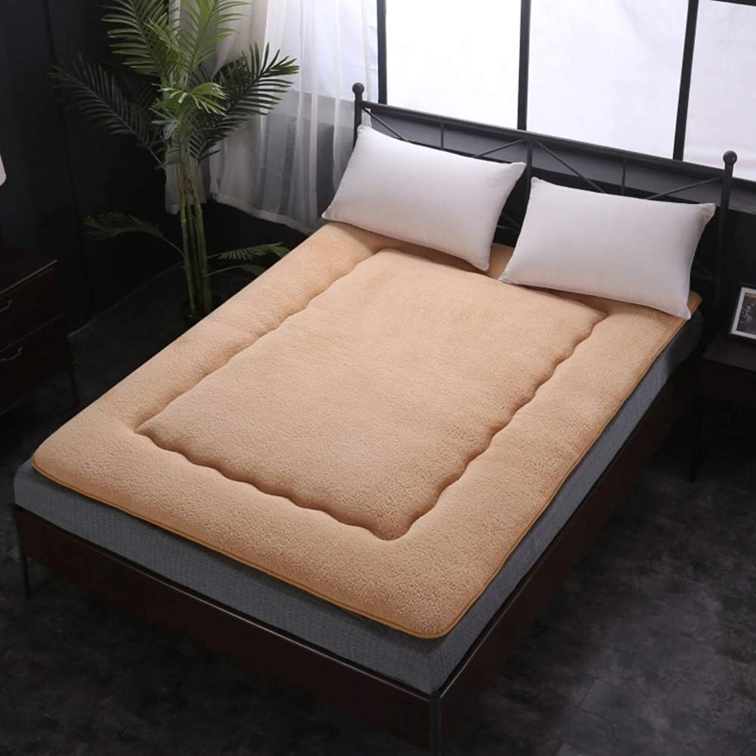 Japanese Tatami Mattress,Soft Mattress Pads,Thicken Sherpa Double Individual Dormitory Non-Slip Solid color Overfilled Mattress-Toppers-Light tan 150x200cm(59x79inch)