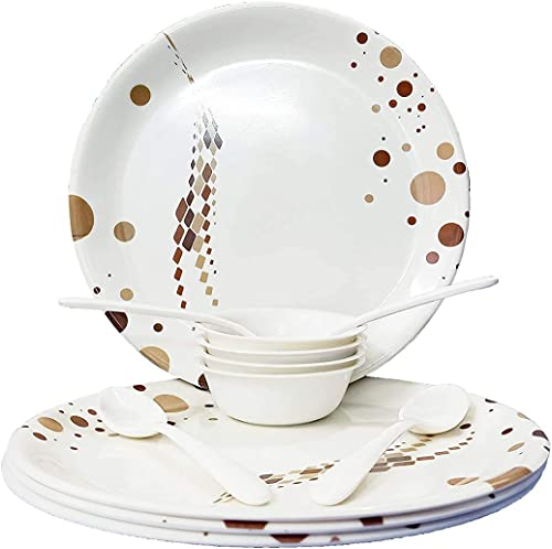 DK HOME APPLIANCES 12 pcs Melamine Dinner Set Dinner Dishes with Bowl Set for Indoor and Outdoor Use Dishwasher Safe Unbreakable