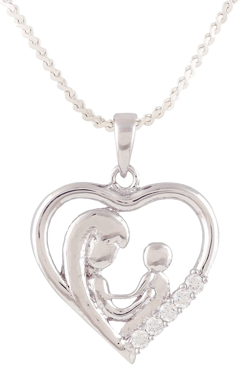 Ananth Jewels Heart Shaped Mom Kids Pendant Fashion Jewelry Zircon CZ Necklace for Women