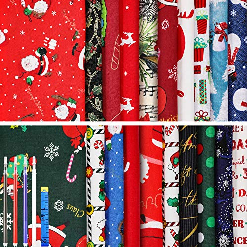 20 Pieces Christmas Cotton Fabric Squares Christmas Fabric Bundle 20 x 25 cm Quilting Patchwork Sewing Christmas Fabric Scrap Decor with 4 Heat Erasable Pens and Soft Measure Tape