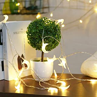 HUXICUI String Lights, Battery Powered 10 FT 20 LED Chirstmas Moon Decor Rope Lights for Wedding Party Home Garden Bedroom Outdoor Indoor Wall Decorations, Warm White