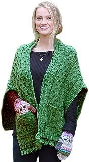 Ladies Irish Wool Wrap with Pockets, Made in Ireland from soft Merino Wool, Green