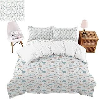 vroselv-home Duvet Cover Set, Bohemian Fish Motifs Girls Bedding 4 Piece Romantic Design Bed Skirt - Full Size/NO Comforter