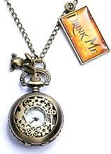 Onwon Vintage Drink Me Pocket Watch Necklace Quartz Watch Alice in Wonderland Rabbit