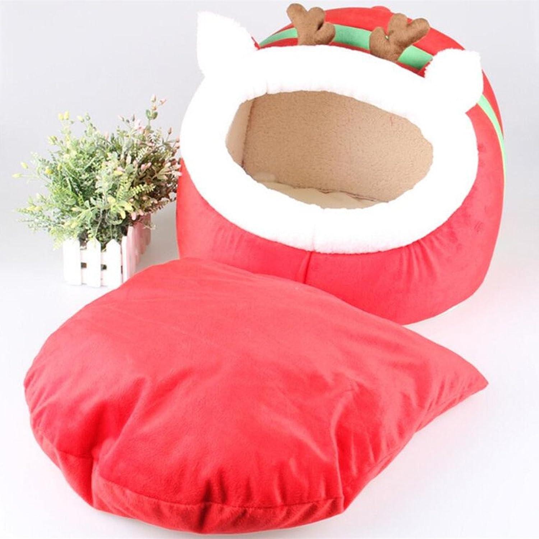 Pet Dog Puppy Cat Soft Cute Reindeer Cozy Warm Nest Bed House Cotton Mat SL  L
