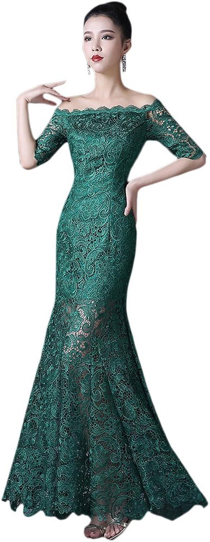BessWedding Elegant Women's Green Long Off Shoulder Sleeve Lace Mermaid Dresses