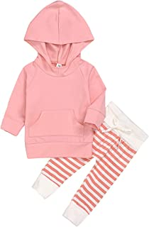 Alrigon Baby Girl Clothes Newborn Girl Long Sleeve Hoodie Sweatshirt and Floral Pant Headband Outfit Sets