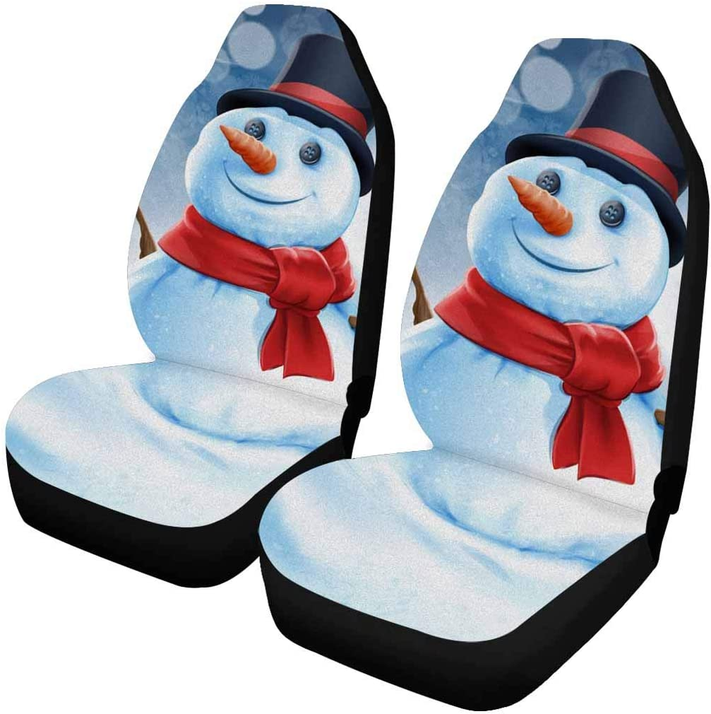INTERESTPRINT Limited time trial price Snowman gift Winter Christmas Auto Covers Seat En pc 2