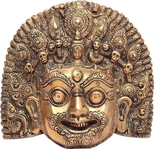 Exotic India Mahakala Maske, Aus natürlichem Messing, Size: 2.1 X 6.5 X 6.3 inches