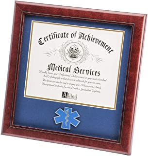 Allied Frame US EMS Certificate of Achievement Picture Frame with Medallion - 8 x 10 Inch Opening