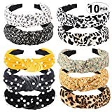 10 Pack Wide Headbands, 3 Style Knot Turban Hairband Vintage Head wrap Hair Band Elastic Hair Accessories, Great Gift for Woman,Grils and Teen Girls