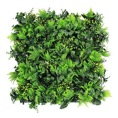 Uland Siepe di Bosso Artificiale, Decorazioni della pianta da parete, Confezione da 6 pezzi, 50*50cm/pc