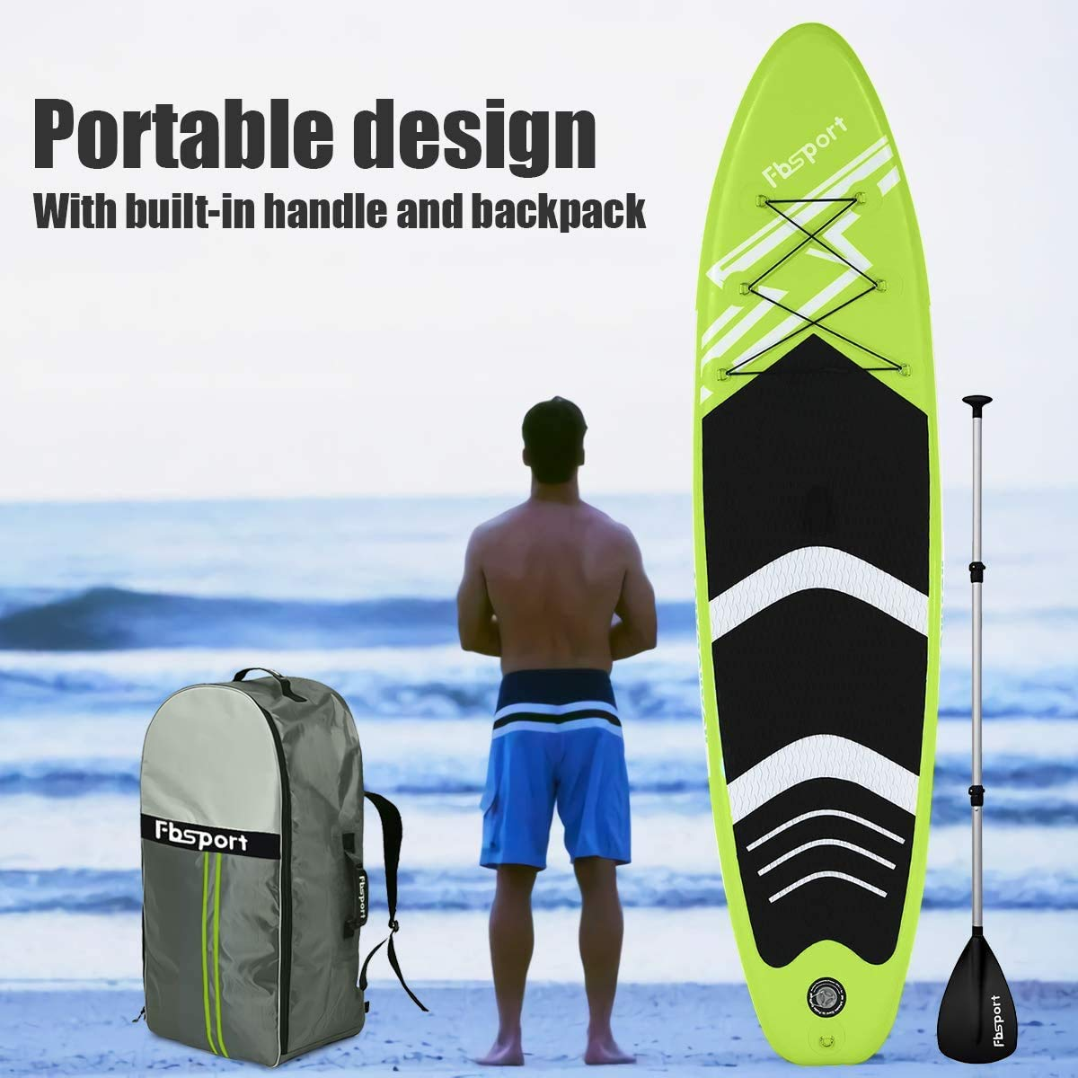 FBSPORT Tabla de Surf Hinchable, 300cm Tabla de Paddle Surf Hinchable, Tabla Inflable de Paddle Surf de construcción ultrarresistente, Remo Ajustable, Tabla Sup Hinchable con Bomba: Amazon.es: Deportes y aire libre