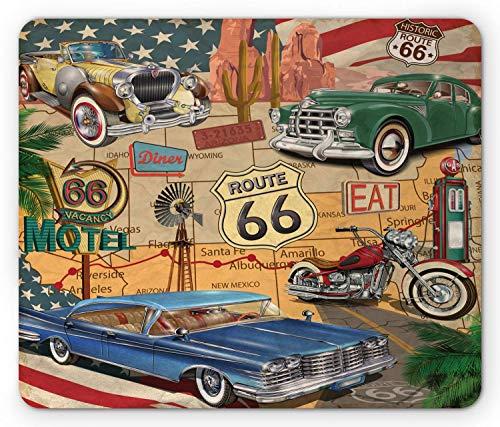 Alfombrilla de ratón Route 66, Motocicleta de coches antiguos en un mapa, viaje por carretera, viaje, concepto de EE. UU., Alfombrilla de ratón rectangular de goma antideslizante, Tamaño estándar, Roj