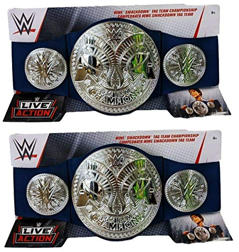 Wrestling Set of 2 WWE Mattel Smackdown Tag Team Championship Replica Toy Kids Title Belts