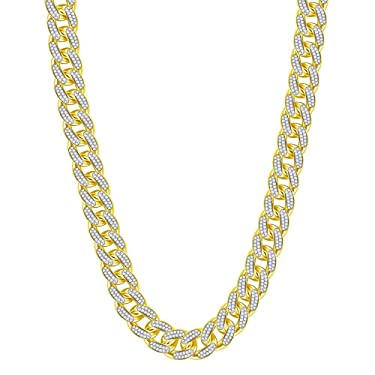 10kt Yellow Gold Round Diamond Cuban Link Chain Necklace 13-1/5 Cttw for Mens for Men Women