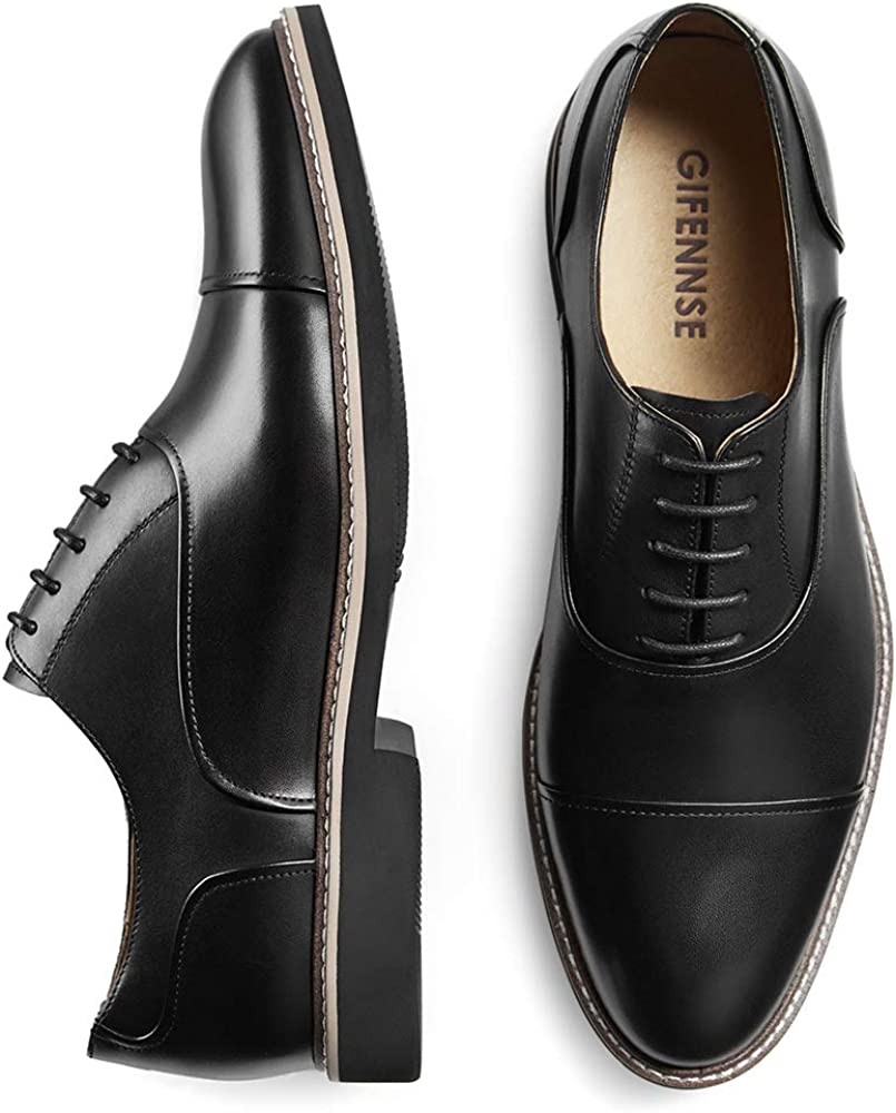 GIFENNSE Men's Casual Dress Shoes Leather Oxford Shoe
