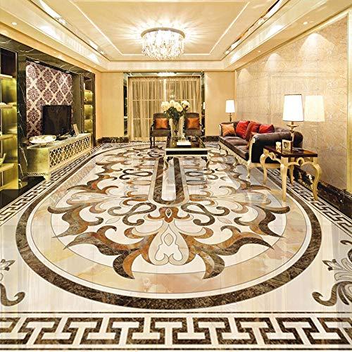 adhesivo para azulejos papel pintado autoadhesivo D Floor Tiles Mural Wallpaper Estilo europeo Mármol Pattrern Etiqueta de piso PVC Autoadhesivo Impermeable Sala de estar 3D Stickers-300 * 210cm