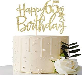 Gold Glitter Happy 65th Birthday Cake Topper,Hello 65, Cheers to 65 Years,65 & Fabulous Party Decoration