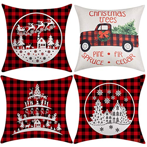 Artmag Christmas Throw Pillow Covers 20x20 Inch,Decorative Outdoor Farmhouse Buffalo Plaid Plad Winter Holiday Christmas Tree Pillow Shams Cases Slipcovers Set of 4 for Couch Sofa