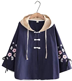 Women Girls Autumn Hooded Coat Embroidery Long Sleeve Windbreaker Women's Jacket Trench Outwear