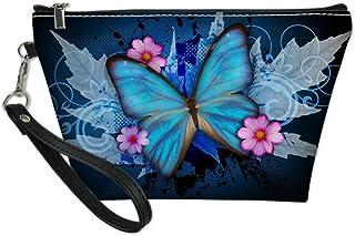 HUGS IDEA Fashion Butterfly Print Toiletry Bag Handle Makeup Pouch PU Leather Protable Clutch Bag