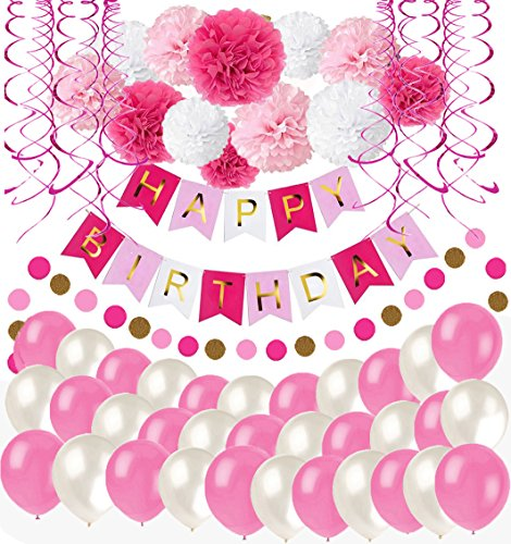 MAKFORT Happy Birthday Girlande Rosa Pink Pompoms Luftballons Spiralgirlanden Geburtstag Deko Partydeko Set