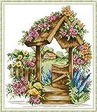 Kit de punto de cruz estampado, OWN4B Puerta del País de las Maravillas patrón impreso 11CT 14.6 x 16.5 pulgadas (Wonderland)