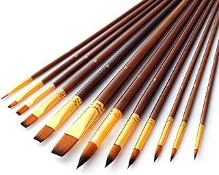 Acrylic Oil Watercolor Paint Brushes, Art Face and Body Professional Painting Kits, Anti-Shedding Synthetic Nylon Tips Paintbrushes, 12 Pieces (Burlywood)