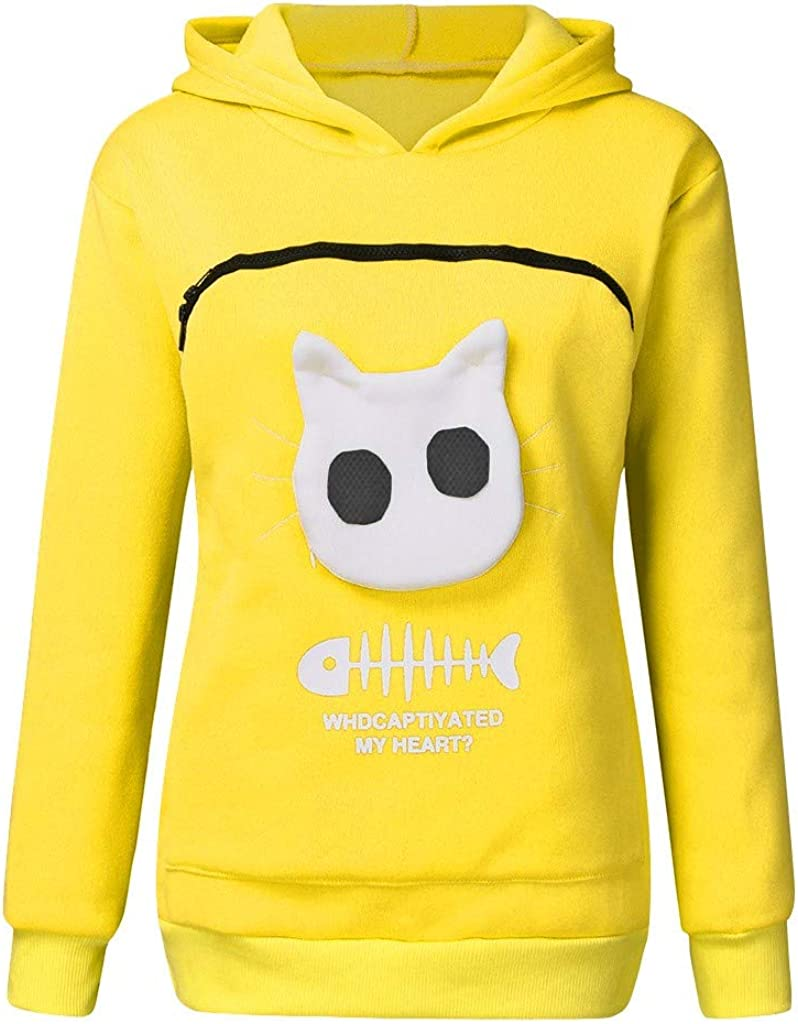 HGWXX7 Women's Hoodie Animal Pouch Hood Pullover Carry Cat Breathable Long Sleeves Sweatshirt Tops