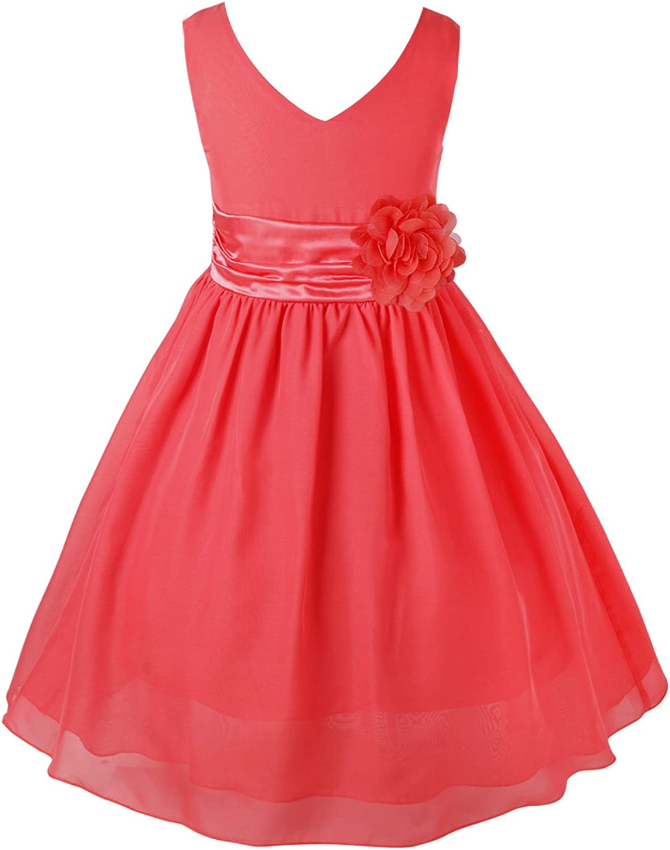 Sholeno Kids Girls Flower Chiffon Princess Dress Wedding Bridesmaid Ball Prom Summer Party Gown