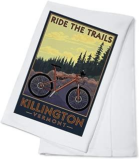 Killington, Vermont - Ride the Trails - Mountain Bike Scene (100% Cotton Kitchen Towel)