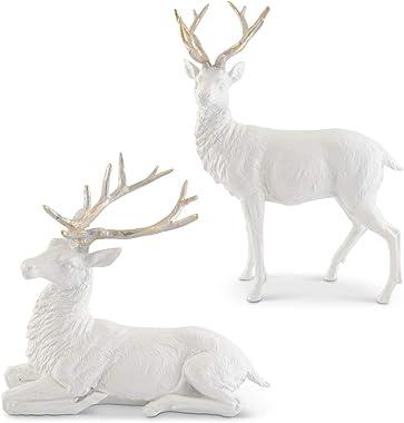 K&K Interiors 54287A Set of 2 White Glittered Resin Deer w/Gold Antlers