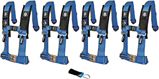 Pro Armor A114220VB P151100 Voodoo Blue 4-Point Harness 2 Inch Straps, 4 Pack RZR UTV Seat Lap Belt with Bypass Clip