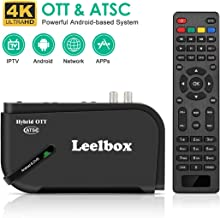 Leelbox Android TV Box, 1080P ATSC Tuner Box for Recording PVR, USB Multimedia Playback, Web Browsing, Support BT 4.0/2.4G WiFi/3D/H.265 Video Decoding