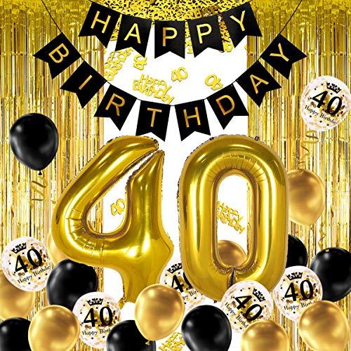 iZoeL 40 Ans déco Anniversaire Or Noir, bannière Joyeux Anniversaire, Ballon hélium Chiffres 40 XXL, Rideau à Franges Or Noir confettis Latex numéro Tableau Deco confettis Fille Femmes