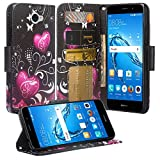 Huawei Ascend XT2 H1711 Case, SOGA [Pocketbook Series] PU Leather Magnetic Flip Wallet Case Compatible for Huawei Ascend Xt2 H1711, Huawei Elate 4g - Black Heart Butterfly