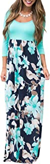 DUNEA Women's Maxi Dress Floral Printed Autumn 3/4 Sleeve...