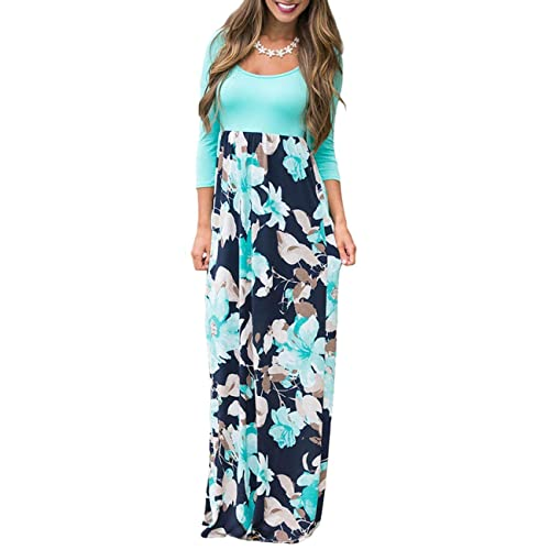 8cacf21e9048 DUNEA Women s Maxi Dress Floral Printed Autumn 3 4 Sleeve Casual Tunic Long  Maxi Dress