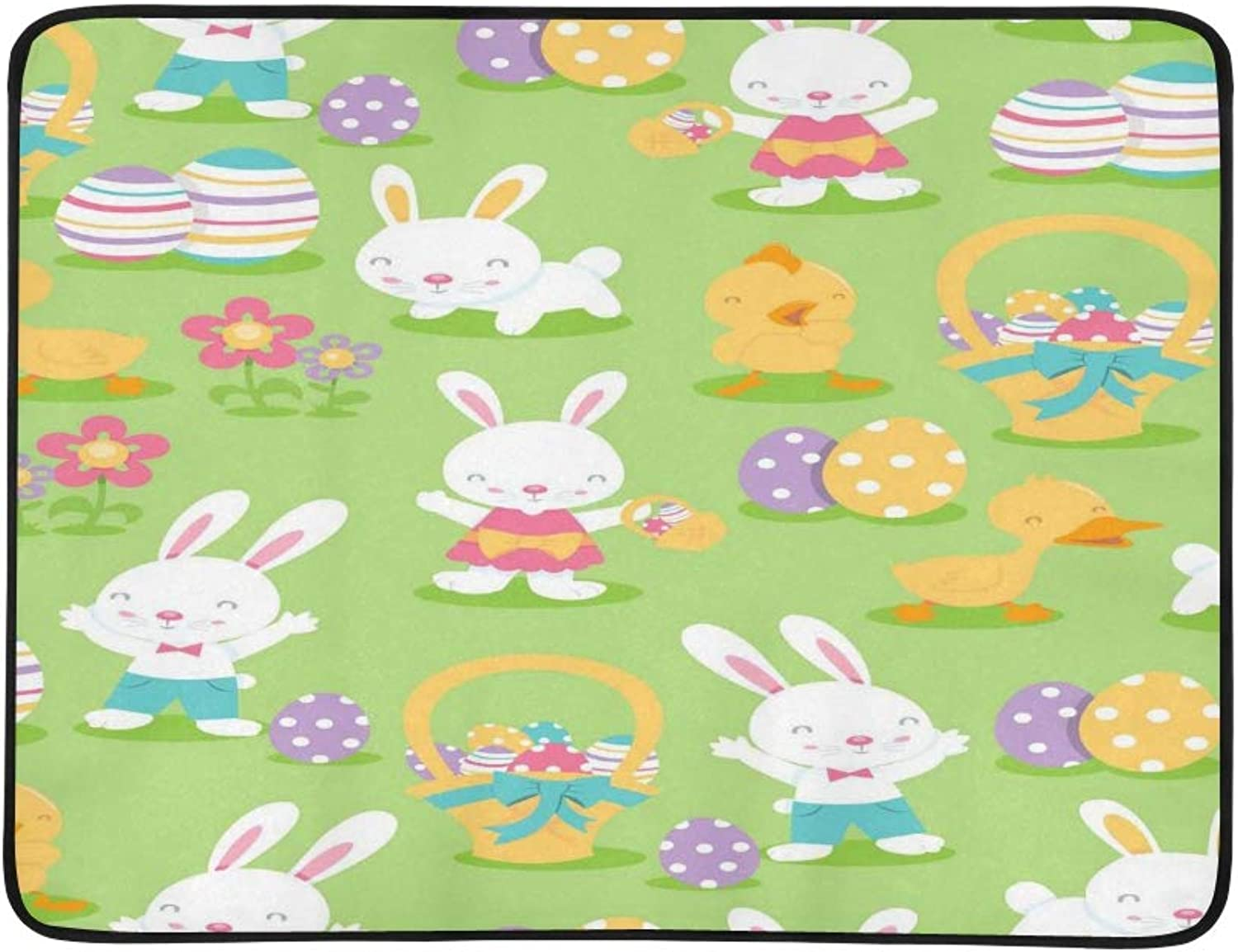A Vector Illustration of Super Cute Easter Theme S Pattern Portable and Foldable Blanket Mat 60x78 Inch Handy Mat for Camping Picnic Beach Indoor Outdoor Travel