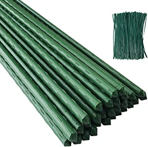 POYEE Garden Stakes 60 Inches 5FT Steel Core & Plastic Coated Plant Stakes for Climbing Plant Support, Tomatoes, Trees, Cucumber, Beans, 50 Pack with 200 Zip Ties