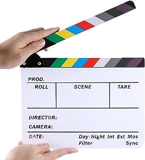 Neewer - Tablilla de la Película del Director Corte Escena Tablero de La Chapaleta Pizarra con Palos de Colores, Acrílico Plástico, 25x20 Centímetros