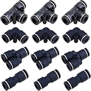 BestTong 10mm Push to Connect Fittings Pneumatic Fittings kit 3/8 inch OD Air Tool Fittings Pneumatic Quick Fittings Lock Spliters+3 Elbows+3 Tee+3 Straight Pack of 12