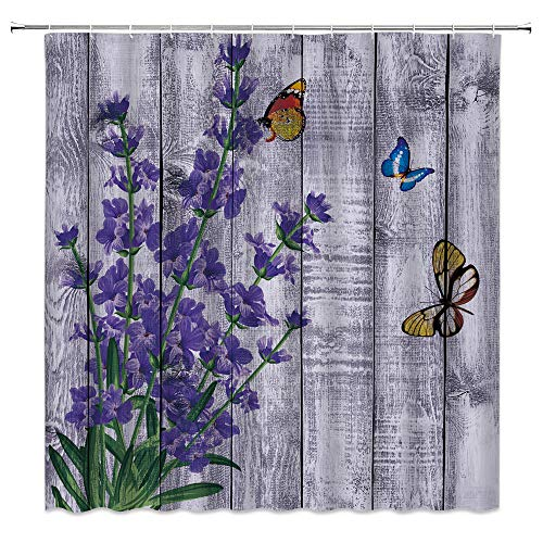 Lavender Butterfly Shower Curtain Rustic Wooden Board Purple Flower Colorful Monarch Butterflies Vintage Country Spring Floral Green Leaf Retro Plank Fabric Bathroom Curtain Set 70x70 Inch with Hooks