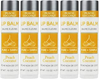 Vegan Lip Balm by PURE + SIMPLE, Peach Coconut Lip Balm Collection Set of 5 Tubes, Cruelty Free, Beeswax Free, with Avocado Oil, Jojoba Oil, Candelilla Wax, Moisturize Dry, Cracked, or Chapped, Lips