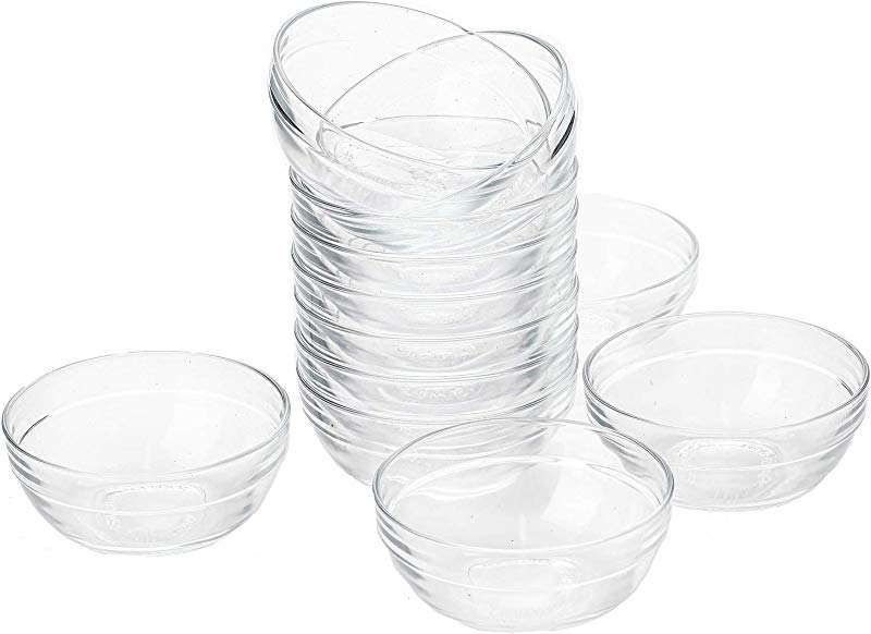 Lawei Set Of 12 Glass Bowls 3 5 Inch Mini Transparent Glass Salad Bowl For Kitchen Prep Dessert Dips Candy Dishes