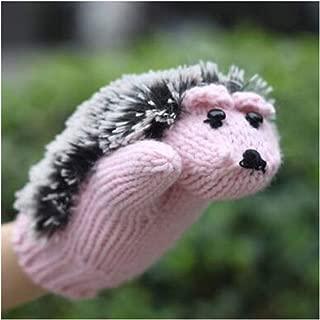 Women Winter Gloves Without Fingers Knitting Wool Cute Warm Mittens Fingerless Cartoon Hedgehog Warm Gloves