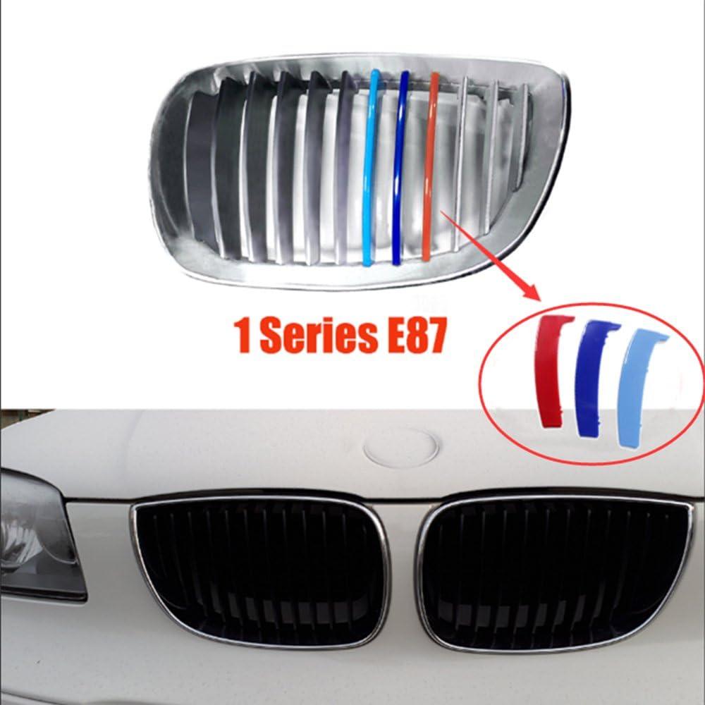 12Grilles arrondies M-Couleur Avant Calandre Muchkey Car Styling Carrelage Insert Trims Avant Centre Grilles de Rejet Pour E87
