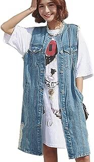 Womens Casual Button Up Sleeveless Denim Jean Mid Long Vest Gilet Jacket