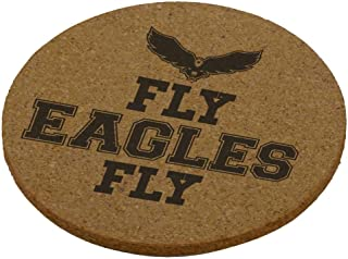 Old Glory Fly Eagles Fly Round Cork Coaster (Set of 4) Brown Standard One Size